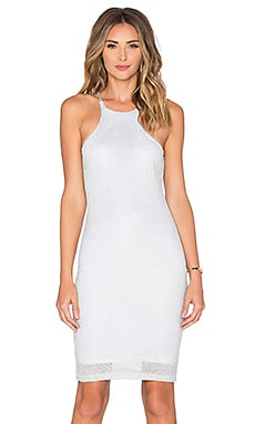 Bobi Shimmer Sweater Midi Dress in Silver