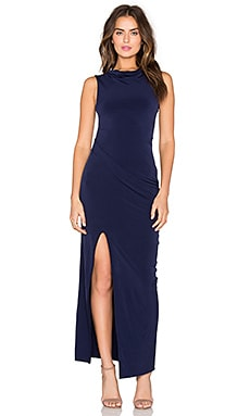 BLACK Liquid Jersey Cowl Neck Maxi Dress in Blue