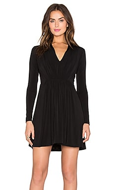 Bobi BLACK Liquid Jersey V Neck Dress in Black