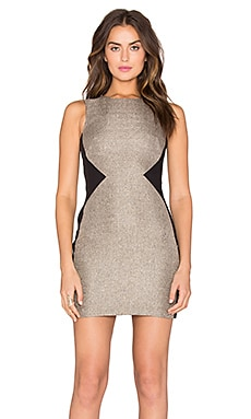 Bobi BLACK Sateen Knit Colorblock Dress in Gold & Black