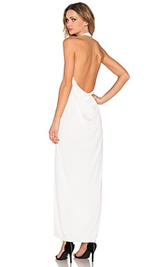 BLACK Luxe Liquid Jersey Halter Dress in White