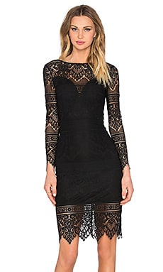 BLACK Lace Overlay Long Sleeve Midi Dress in Black