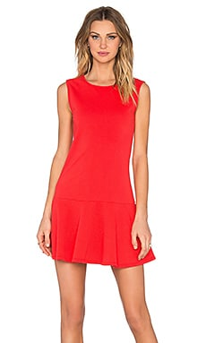 Bobi Lightweight Cashmere Terry Dropwaist Dress in Retro Red