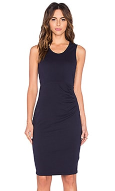 Bobi Lightweight Cashmere Terry Shirred Midi Tank Dress in Passport