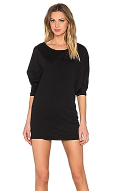 Bobi Lightweight Cashmere Terry Boatneck Dolman Dress in Black