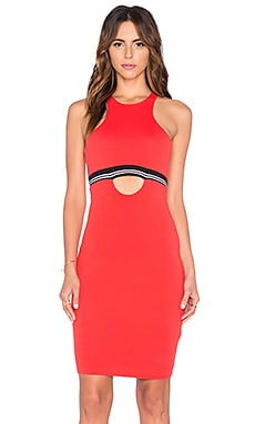 Pima Cotton Cut Out Midi Dress in Retro Red