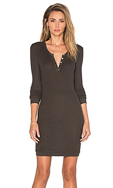 Bobi Mini Thermal Long Sleeve Henley Dress in Like Army