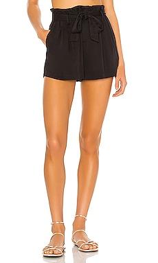BLACK Rayon Twill Shorts Bobi $88