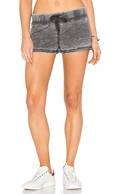 Bobi Burnout Terry Tied Waist Short in Black