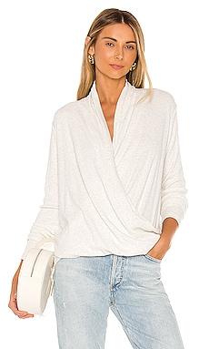 Heathered Rib Surplice Sweater Bobi $70