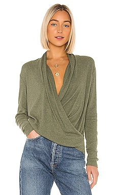 Heathered Rib Surplice Sweater Bobi $70