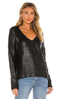 BLACK Coated Chunky V-Neck Sweater Bobi $61