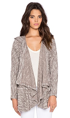 Bobi Boucle Hooded Open Front Cardigan in Tan