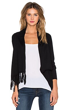 Bobi Fringe Wrap Sweater in Black