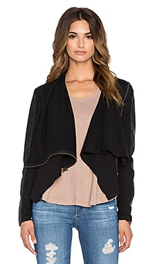 Bobi Mixed Media Drape Front Sweater in Black
