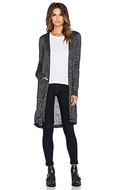 Bobi Bouncy Knit Hooded Cardigan in Black