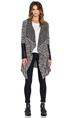 Bobi Boucle Long Open Front Cardigan in Black