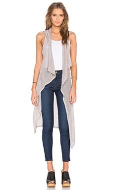 Bobi Mesh Sweater Sleeveless Long Cardigan in Grey