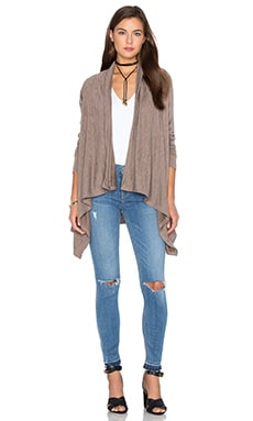 Fine Woolen Jersey Long Sleeve Wrap Cardigan in Beige