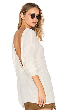 Cashmere V Back Sweater in Bone