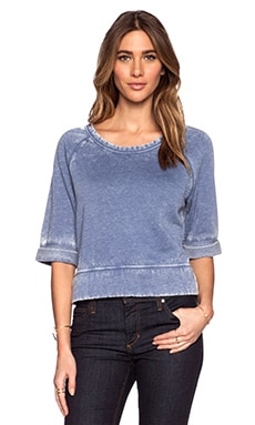Bobi Enzyme Wash Short Sleeve Sweatshirt in Blue