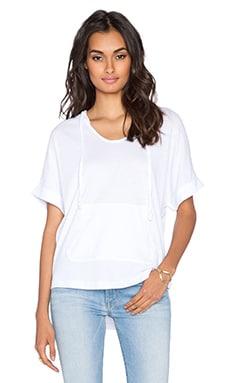 Bobi Light Weight Jersey Short Sleeve Hoodie in White