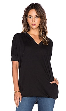Bobi Light Weight Jersey Short Sleeve Hoodie in Black