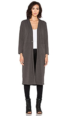 BLACK Knit Boucle Coat in Charcoal