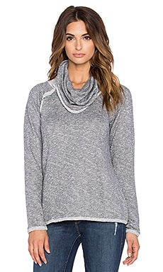 Bobi French Terry Cowl Neck Sweatshirt in Light Grey