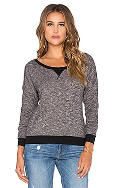 Bobi French Terry Light Weight Cashmere Pullover in Black