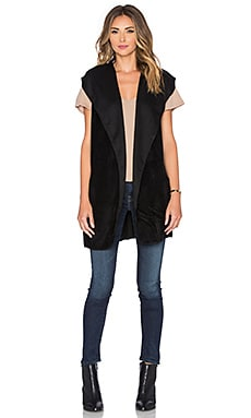 Bobi Bonded Faux Fur Vest in Black