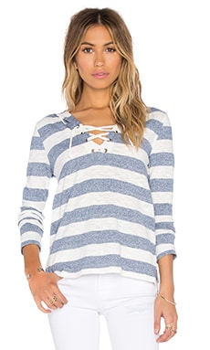 Slub Stripe Lace Up Detail Hoodie in Blue & White