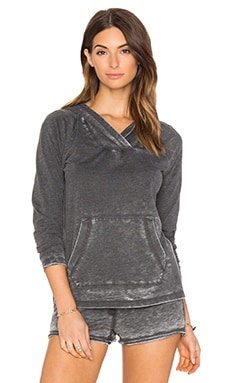Bobi Burnout Terry Long Sleeve Hoodie in Black