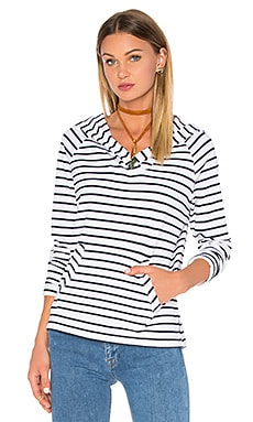 Bobi Cashmere Terry Stripe Long Sleeve Hoodie in White
