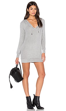 Draped Rib Long Sleeve V Neck Hoodie in Grey