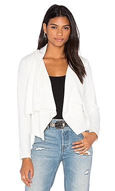 Knit Boucle Long Sleeve Front Draped Blazer en Blanco