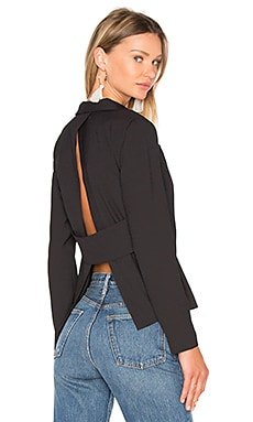 BLACK Woven Crepe Long Sleeve V Neck Blazer in Black