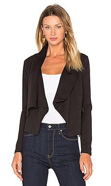 BLACK Knit Boucle Long Sleeve Front Draped Blazer in Black