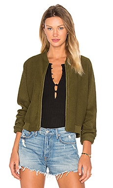 Bobi Reversed Terry Zip Up Sweatshirt Green in Army