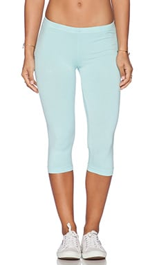 Bobi Cotton Lycra Crop Legging in Bubble Blue