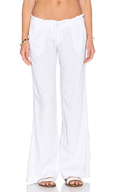 Bobi Woven Linen Drawstring Pant in White