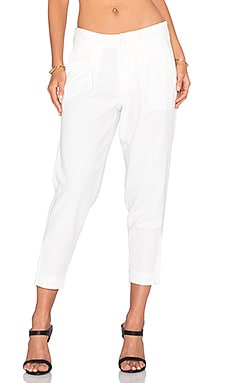 Bobi BLACK Textured Crop Pant in White