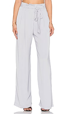 Bobi BLACK Georgette Wide Leg Pant in Light Grey