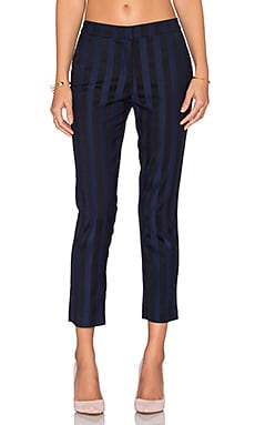 Bobi BLACK Striped Suiting Pant in Blue