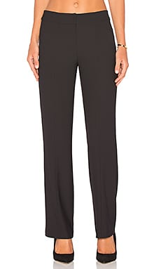 BLACK Woven Crepe Pants in Black