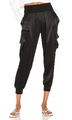 BLACK Sleek Textured Woven Pant Bobi $123 NEW