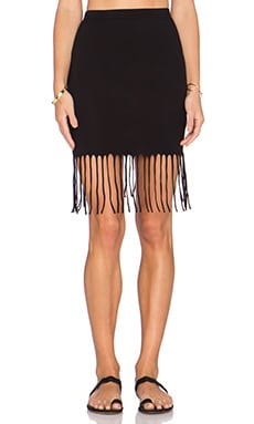 Bobi Pima Cotton Fringe Midi Skirt in Black