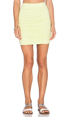 Bobi Modal Jersey Ruched Mini Skirt in Mojito
