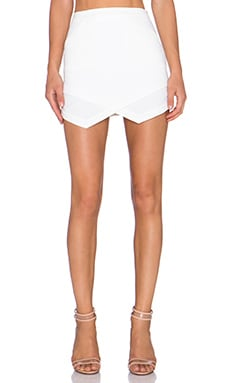 Bobi BLACK Luxe Stretch Crepe Asymmetric Skirt in White