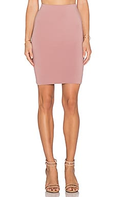 Bobi Cotton Lycra Pencil Skirt in Light Rose